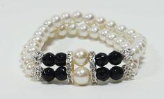 Como hacer una pulsera con Perlas y estras : Pekas Creaciones