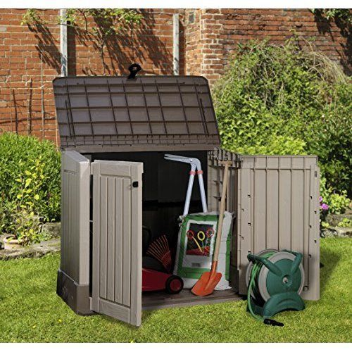 Outdoor Garden Storage Box Shed Plastic Utility Wood Effect 120L Wheelie  Bins