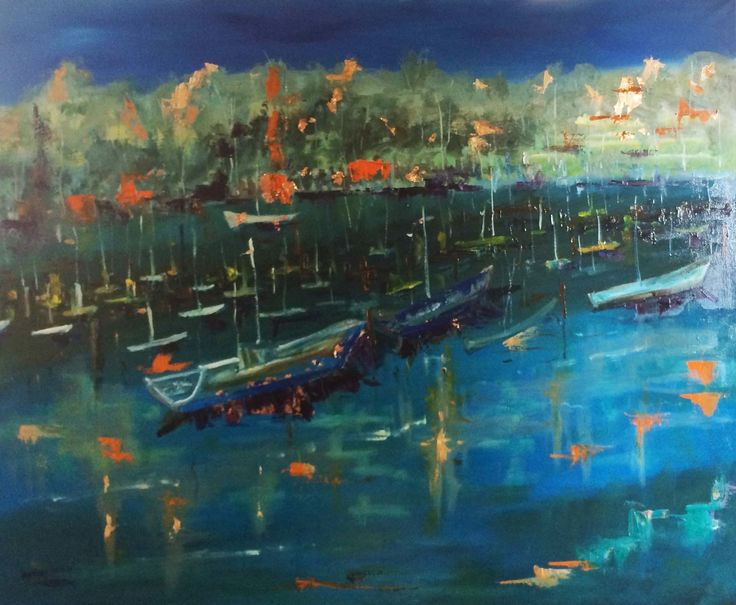 """""""Night closes in on The Yamba Marina NSW """" by Margaret Morgan (Watkins). Paintings for Sale. Bluethumb - Online Art Gallery"""
