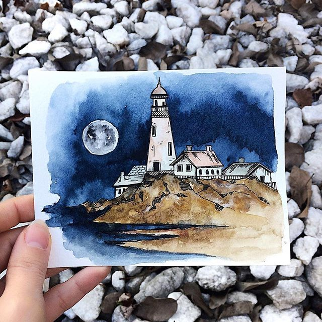 Rosies Sketchbook Lighthouse On A Cliff Watercolor Doodle Mixed