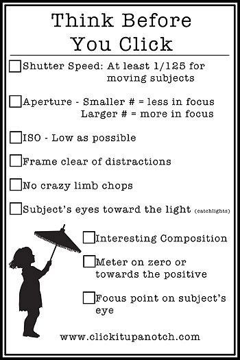 Click it up a notch with a quick glance photo checklist to think through before you take that photo.
