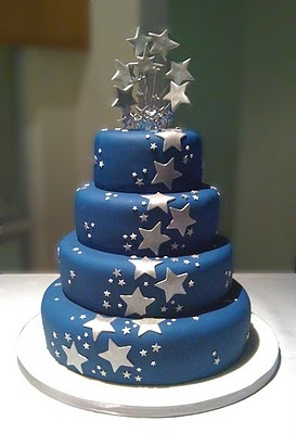 Blue Cake Silver Stars