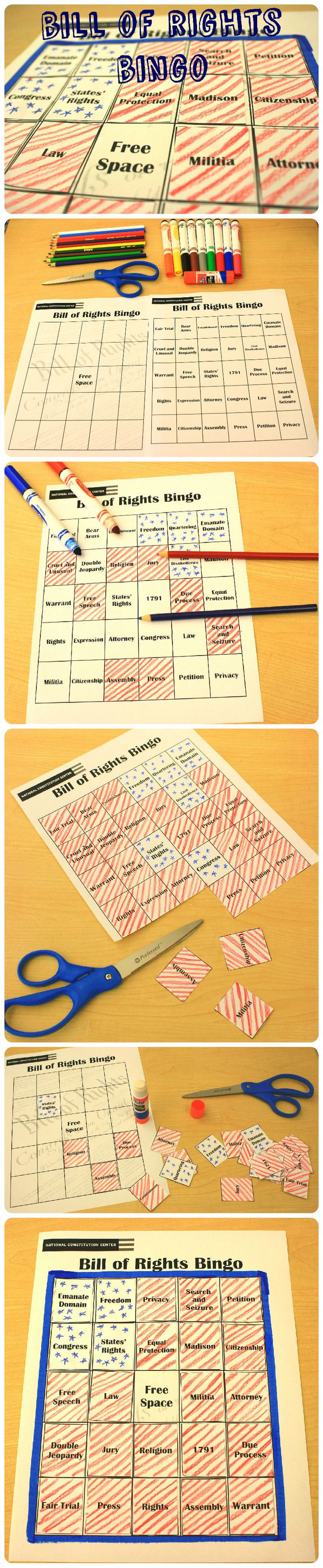 Throughout #July4th or even just watching the news, listen for these important terms and mark off the squares on the board. How quickly can you fill your board? Great for kids to get more familiar with The Bill of Rights. #DIY