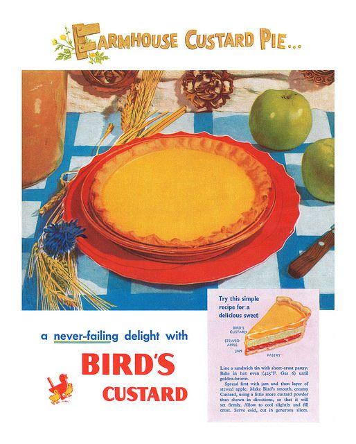 1950 Bird's Custard ad featuring a tasty looking custard pie.
