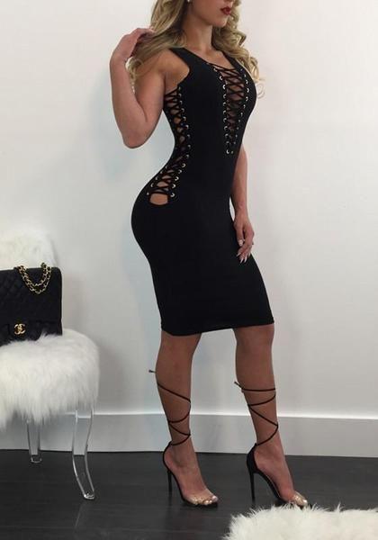 7a096b7462 Black Plain Spaghetti Strap Hollow-out Drawstring Plunging Neckline  Clubwear Midi Dress