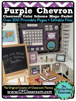 PURPLE CHEVRON Classroom Color Scheme This bundle includes 33 different Classroom Essentials  (including editable files) for an amazing low cost (less than 25 Cents per product!!!) It was created to help teachers decorate their classrooms on a budget and to create a custom color scheme by MIXING and MATCHING with other bundles.