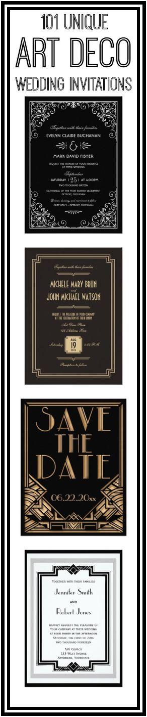 Art Deco Wedding Invitations for a 1920s Art Deco Theme Wedding.  #wedding