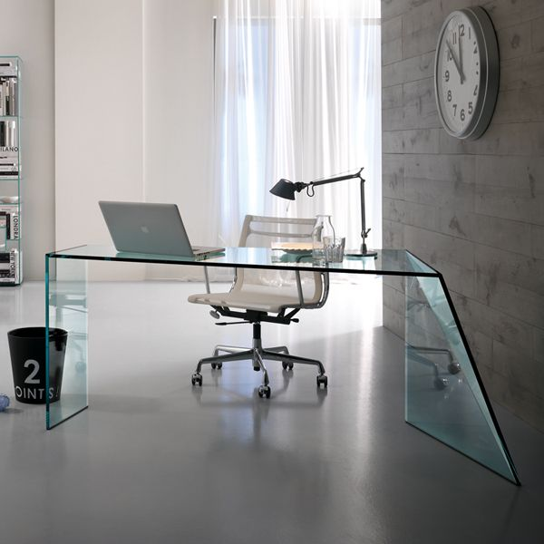 Tonelli Penrose Glass Office Desk Glass Office Furniture Ultra Modern Glass Desk Office Furniture Modern Glass Desk Office