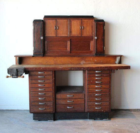 Mid Century Vintage Antique Industrial Watchmaker's Desk Workbench from OneMansTrashLasVegas on Etsy