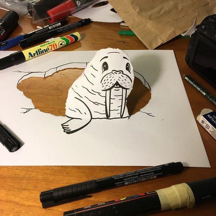 HuskMitNavn transforme ses dessins en 3D avec des pliages et des découpes  Dessein de dessin