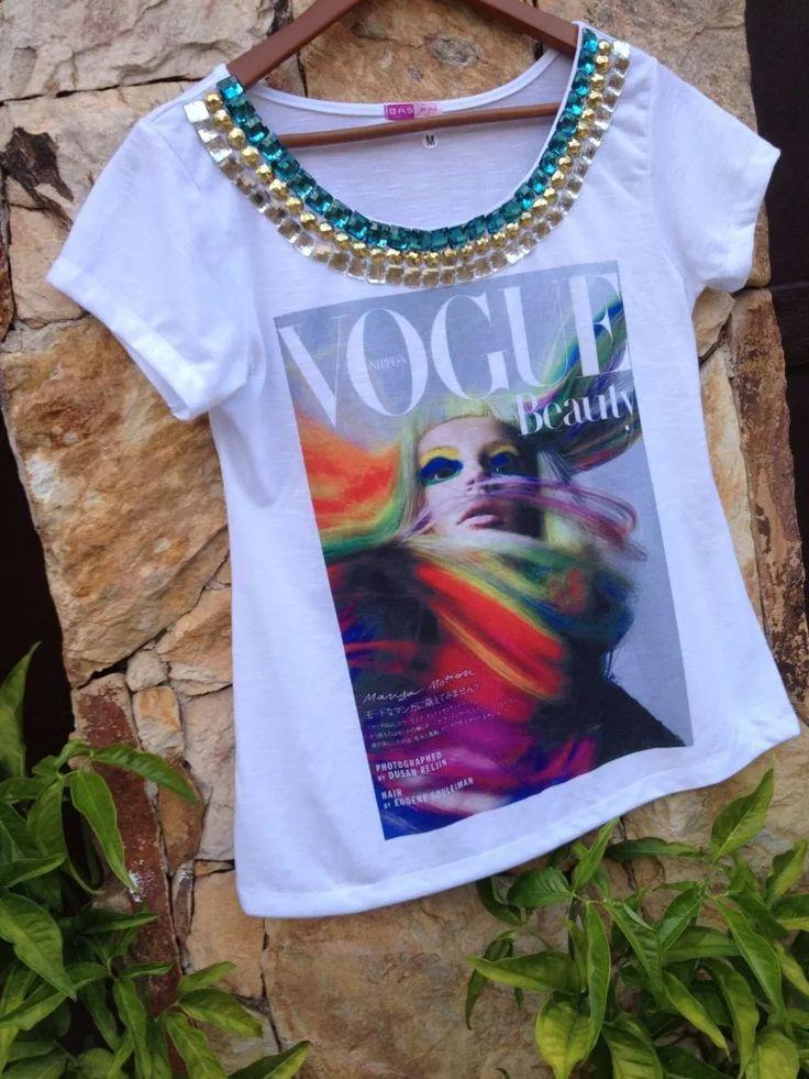 tshirt vogue beuty bordada customizada camiseta tee pedraria
