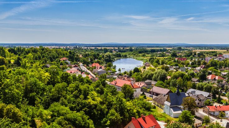 The view from the castle hill over the city of Ilza, Poland