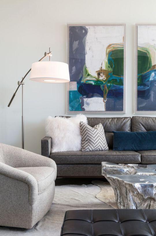 abstract art family room design modern living room design metallic coffee table - Grey Leather Sofa Living Room Ideas