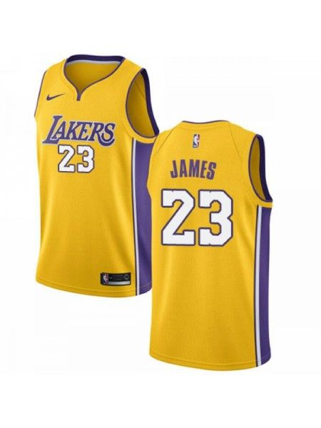 official photos 014d6 52616 Los Angeles Lakers  23 LeBron James Gold Swingman Jersey