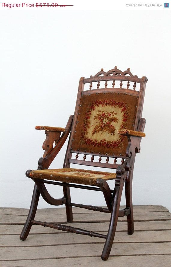 Victorian Folding Chair / Antique Tapestry Chair
