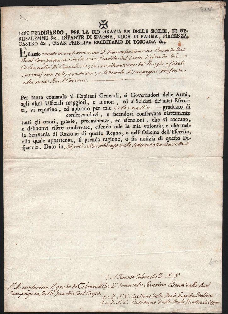 MANOSCRITTO-FERDINANDO II-LETTERA DI REFERENZE PER UNA GUARDIA DEL CORPO-1797