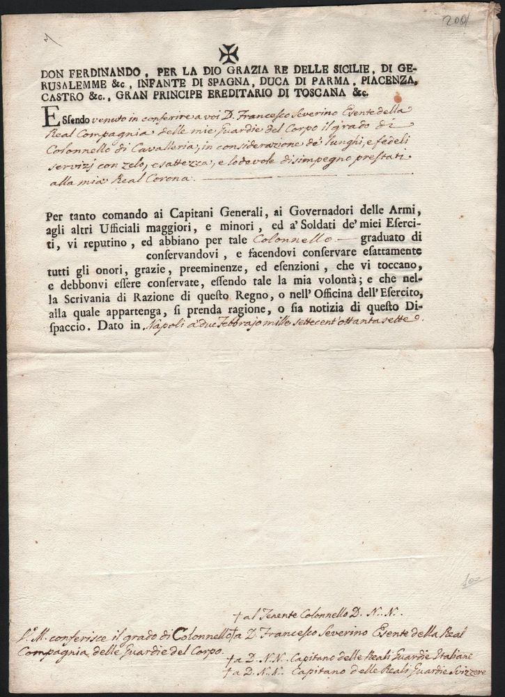 MANOSCRITTO-FERDINANDO II-LETTERA DI REFERENZE PER UNA GUARDIA DEL CORPO-1797