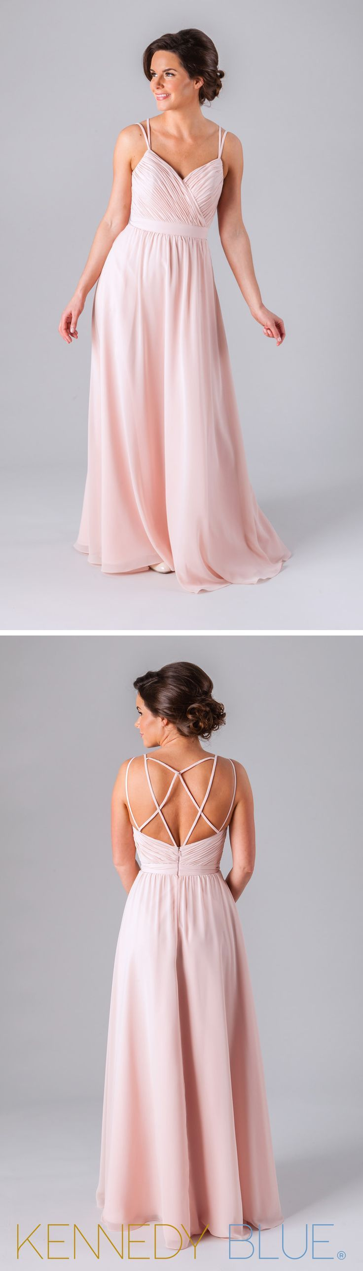 This gorgeous chiffon bridesmaid dress has a v-neckline with spaghetti straps that flow into a fun, unique back that hooks together in the center.