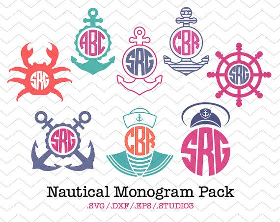Nautical Circle Monogram Frames Pack SVG DXF EPS by Monogramix