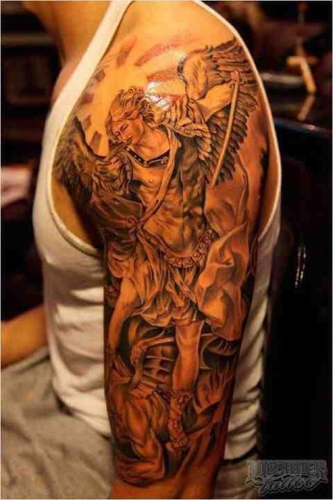 Archangel Grey Ink Tattoo On Left Half Sleeve