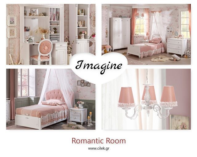 8f03417cc90 Ρομαντικό παιδικό δωμάτιο για κορίτσια με έπιπλα της σειράς ROMANTIC.  Απαλές διακοσμητικές πινελιές του ροζ