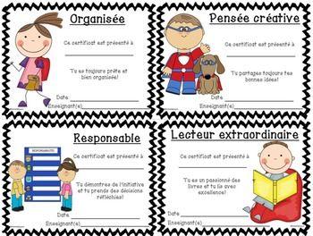 Certificats pour vos élèves.