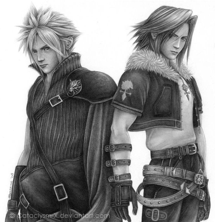 Cloud Strife and Squall Leonhart. Final Fantasy VII and Final Fantasy VIII. Fan art.
