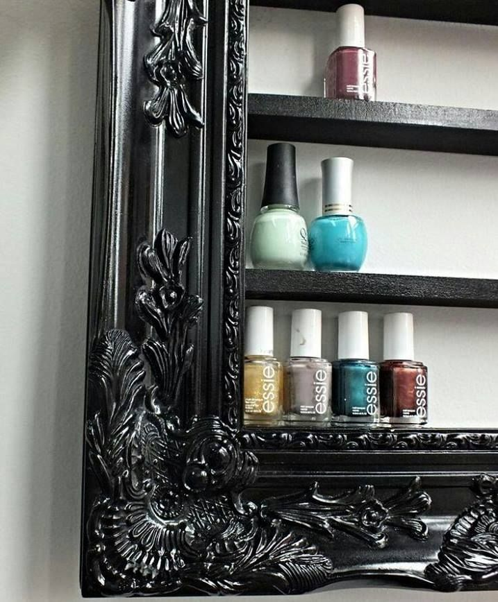 Interesting idea ... old frame of pictures as a shelf for cosmetics.