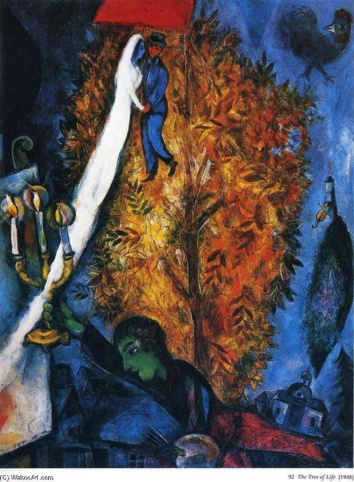 Acheter Tableau 'le arbre de la vie' de Marc Chagall - Achat d'une reproduction sur toile peinte à la main , Reproduction peinture, copie de tableau, reproduction d'oeuvres d'art sur toile