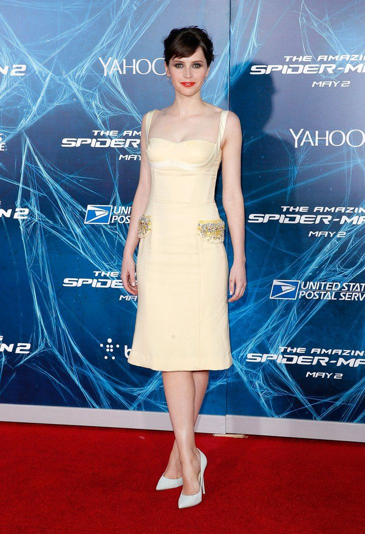 Pin for Later: Felicity Jones Is Never Going to Run Out of Beautiful Dresses At the New York Premiere of The Amazing Spider-Man 2 in April 2014 Wearing Miu Miu.
