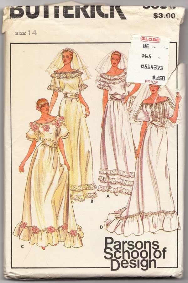 Spectacular Wedding Dress Pattern Butterick Misses Size Parsons School of Design Vintage Bridal Gown Uncut