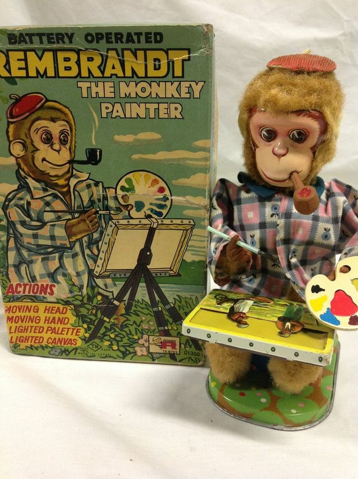 Nomura TN Rembrandt the Monkey Painter Battery Operated toy.