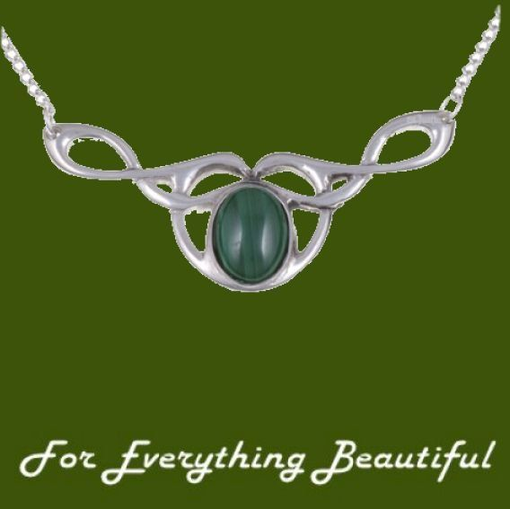 Celtic Bird Knotwork Malachite Design Stylish Pewter Necklace