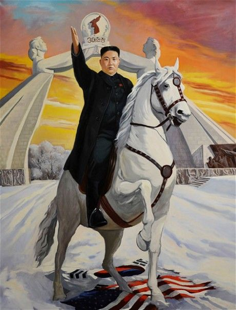 This portrait of Kim Jong-un, painted by Vasily Galaktionov and called Liberator of Korea, was given as a gift to the North Korean leader by Anatoly Dolgachev, a legislator from Russia's Far Eastern Region