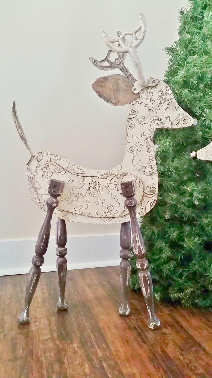 large wooden reindeer art                                                       …
