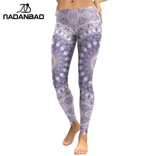 #FASHION #NEW NADANBAO New Arrival Leggings Women Purple Mandala Flower 3D Printed Leggins Woman Cool Fashion Slim Elastic Trousers Pants…