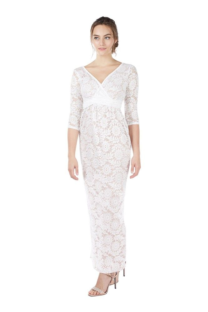 ca03bbbe2f8 Chantel 3 4 Sleeve Lace Maxi Nursing Dress (White)