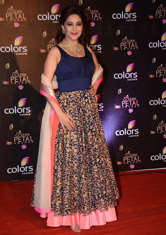 Madhuri Dixit looking gorgeous in her outfit she is wearing in this one to blue and peach colour
