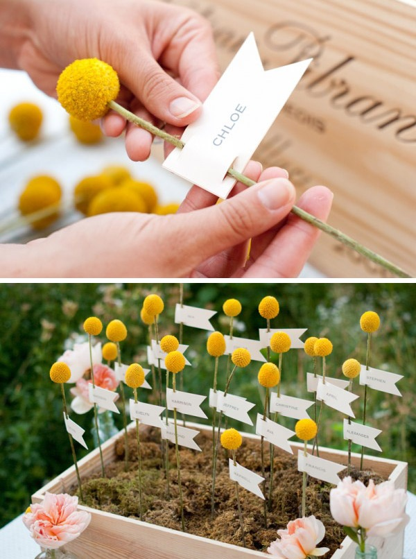 Cute billy buttons placecards but instead of flowers make them buttons or puzzle peices