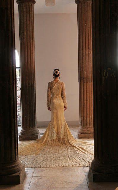 Art Deco Wedding Dress bridal shot