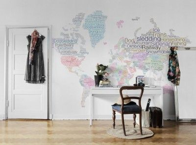World Map (P172701-8) - Mr Perswall Wallpapers - A world map mural with a difference, each country is filled with text of adventures and dreams in each country.  Total mural size is 360cm x 265cm.