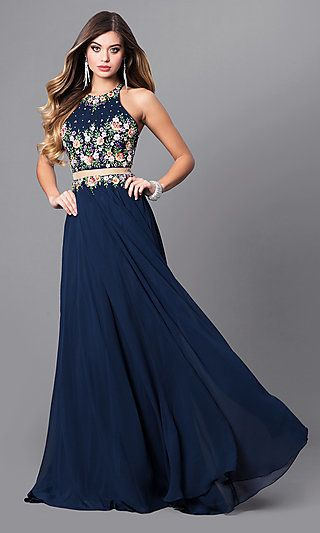 3a8d1cbdb40 Navy Mock Two-Piece Prom Dress with High Neck in 2019
