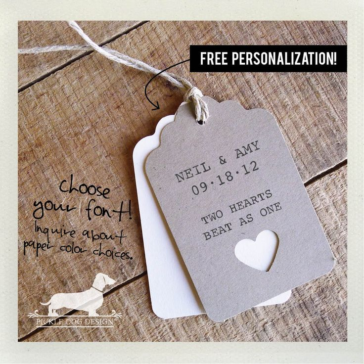 Natural Heart Personalized Gift Tags Set of 12  by PickleDogDesign, $9.00