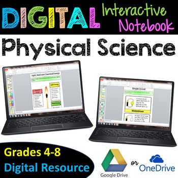 Physical Science Digital Interactive Notebook for Google Drive- This Digital Interactive Notebooks is a great learning tool for classrooms using Google Drive or Microsoft OneDrive. The Physical Science Digital Interactive Notebook consists of thirty-three interactive slides to engage your students in science standards.