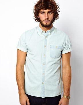 ASOS Denim Shirt In Short Sleeve With Bleach Wash