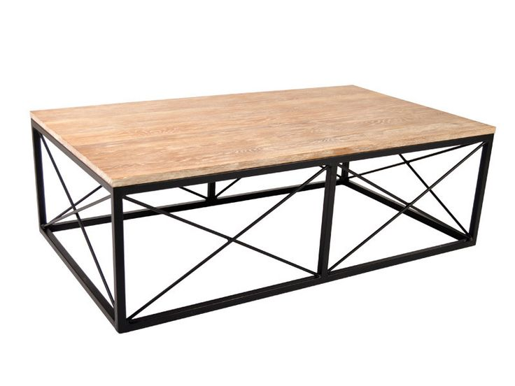 With an X frame metal base and solid wood top this coffee table is at once elegant and casual.