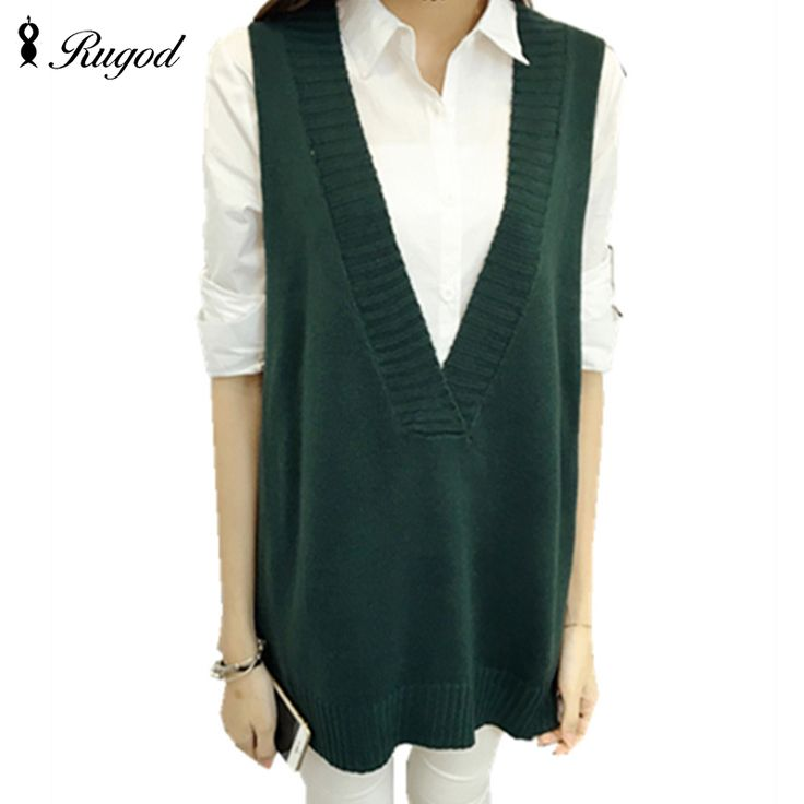 New Autumn Long Section Women's Tank Tops  Korean Style Solid Vest  Loose Knitted V-neck Sweater Vests