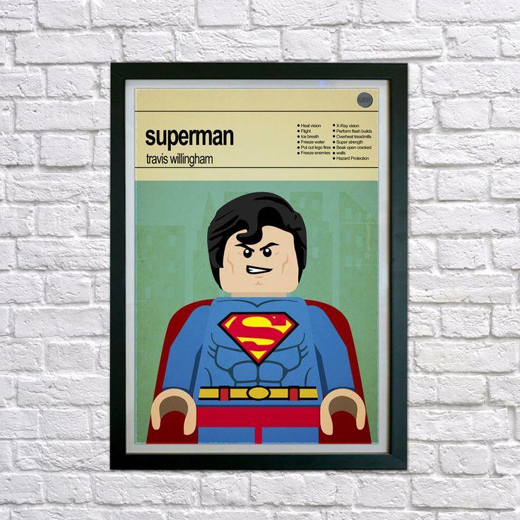 Lego Superhero, Superman Framed print, Mid Century Modern, Modernist, Super Hero Wall Art, Childrens Bedroom Art, Nursery Pictures, Kids art by houseofprintsshop on Etsy https://www.etsy.com/uk/listing/221337250/lego-superhero-superman-framed-print-mid