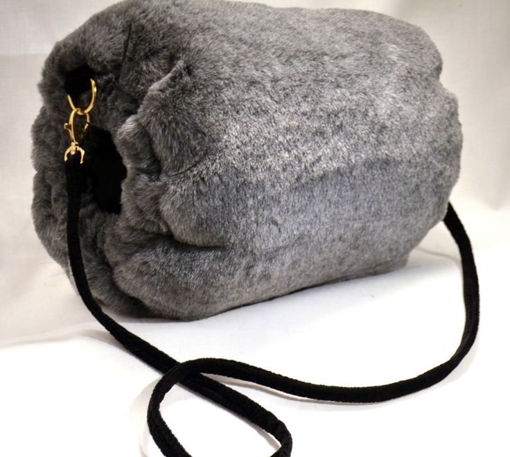 Grey Faux Fur HAND MUFF with Suede Look pocket by FURMUFTA on Etsy