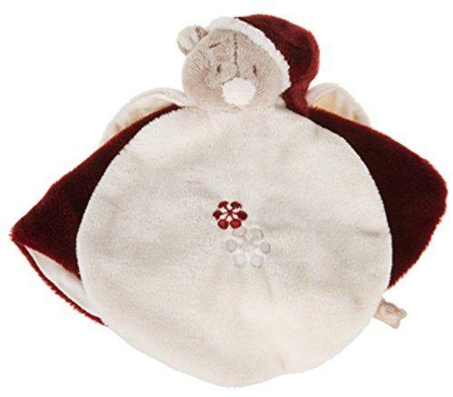 Amtoys – Noukies – Peluches et Doudous – Doudou Nouky Bordeaux rouge et blanc – Peluche bébé semi plat étoile brodé flocon de neige –…